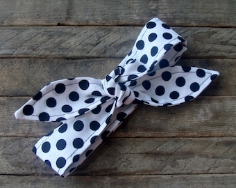 Bow Headband White and Black Polka Dot Teen Women Girl Hair Accessory Headscarf
