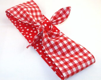Rosie the Riveter Pin up Rockabilly Headscarf, Red Gingham on Red with White Polka Dots Reversible Headband 40s 50s Hair