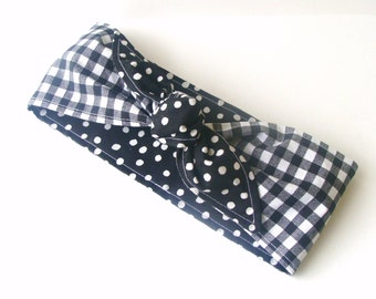 Pin up Rockabilly Head Scarf, Black Gingham on Black with White Polka Dots Reversible Headband 40s Hair