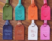 Personalized Wedding Favors Custom Leather Luggage Tags Monogram Wedding gift Mr and Mrs giftx8 maid of honor gift,bridesmaid gift,groomsmen