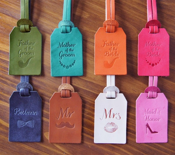 Personalized Wedding Favors Custom Leather Luggage Tags | Etsy