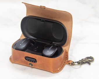 Bose QuietComfort Earbuds Case Keychain Leather Personalized Wireless Earphones Case Customize Leather Gift Wireless Headphone