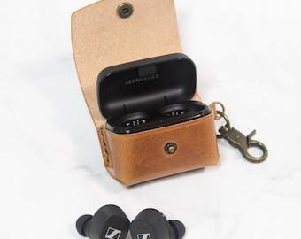 Sennheiser CX 400BT Wireless Earbuds Case Keychain Leather Personalized Wireless Earphones Case Customize Leather Wireless Headphones