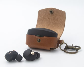 Sony WF-1000XM4 Case leather Wireless earphones case keychain Personalized Leather Wireless Earbuds holder Gift for Him
