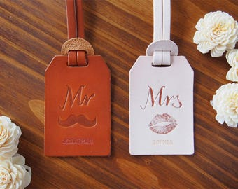Mr and Mrs Luggage Tag Leather, Leather luggage tags wedding gift, Personalized Luggage Tags Leather MONOGRAM luggage tag x 2 Bundle, Harlex