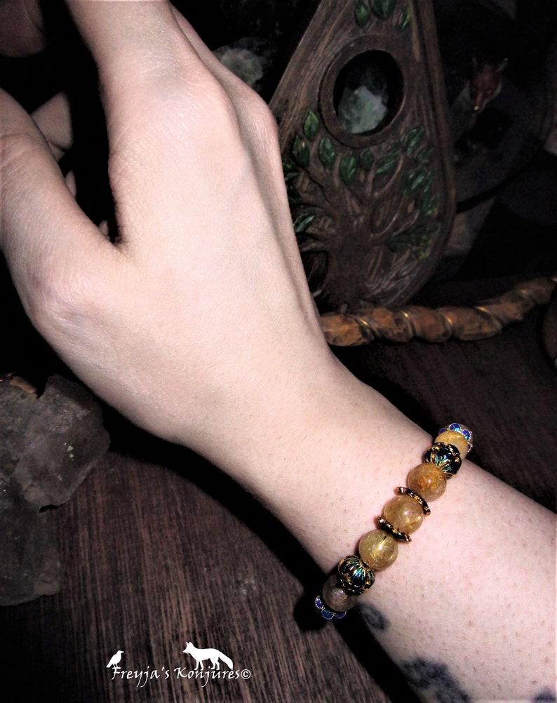 Quartz with Gold Hair Rutile Stretch Bracelet Hair of Freyja