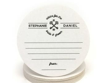 Advice for the Bride and Groom Heavyweight Personalized Paper Coasters - for Weddings, Engagement Party, Shower