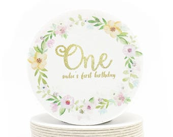 "Pink and Gold ""One"" Coasters - Watercolor Flower Wreath Girl's Birthday Party - Heavyweight Personalized First Birthday Paper Coasters"
