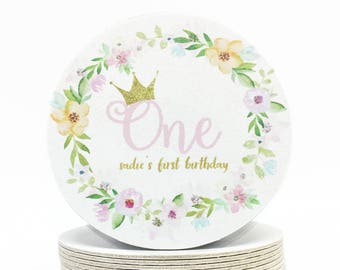 "Pink and Gold ""One"" Crown Coasters - Watercolor Flower Wreath Girl's Birthday Party - Heavyweight Personalized First Birthday Paper Coasters"