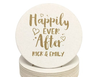 Happily Ever After Personalized Paper Coasters - for Weddings, Engagement Party, Shower