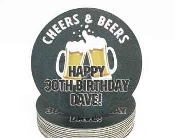 Heavyweight Personalized Cheers and Beers Paper Coasters - Anniversary or Birthday Party