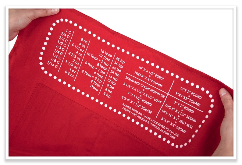 Personalized Apron Baking Gifts Cheat Sheet Baking Apron with Upside-down Measurement Conversion Chart