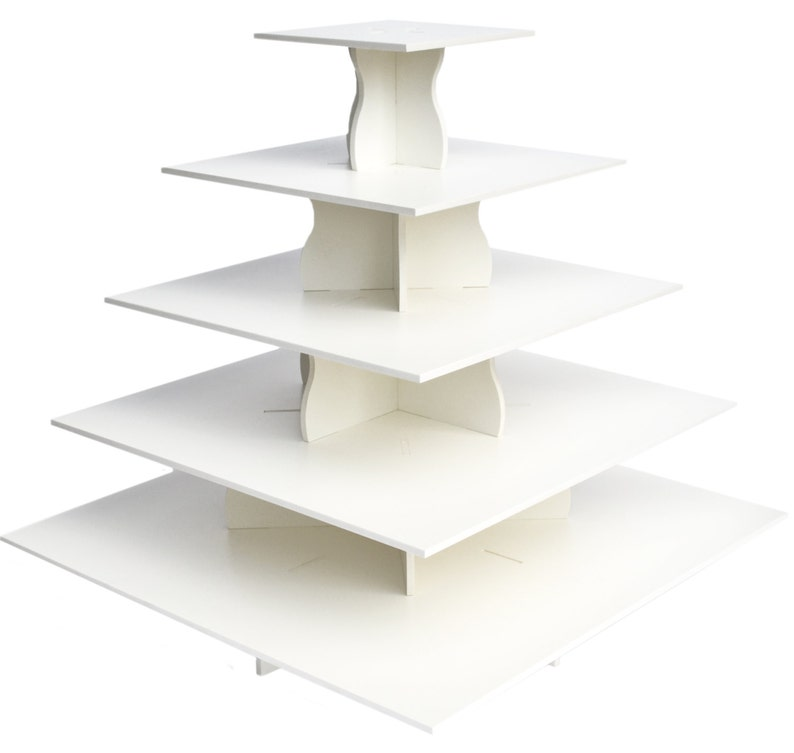 Holidays or any Event 5 Tier Square Cupcake Tower Stand-Reusable and Adjustable Perfect for Weddings Holds 80-100 Cupcakes Birthdays
