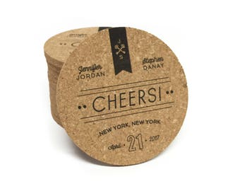 Personalized CHEERS Cork Coasters - for Weddings, Engagement Party, Shower, Birthday, Corporate Events, or Housewarming Gift