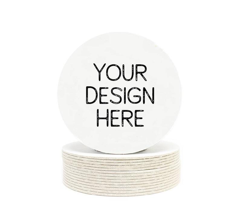 Your Custom Design Heavyweight Round Paper Coasters  Logos image 0