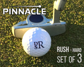 Personalized Golf Balls, Pinnacle Rush (hard), Set of 3 Monogrammed Golf Balls, Gift for Dad - Father's Day Gift -Gift for Golfer