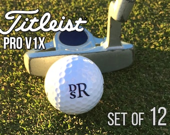 Personalized Titleist Pro V1x Golf Balls, Set of 12 Monogrammed Golf Balls, Gift for Dad - Father's Day Gift -Gift for Golfer
