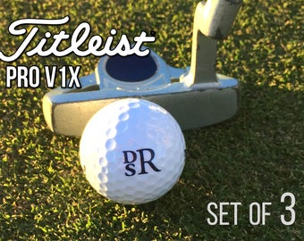 Personalized Titleist Pro V1x Golf Balls, Set of 3 Monogrammed Golf Balls, Gift for Dad - Father's Day Gift -Gift for Golfer