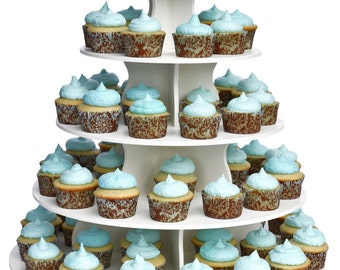 The Best 5 Tier Round Cupcake Tower Stand-Reusable and Adjustable - Holds 70-90 Cupcakes - Perfect for Weddings, Birthdays, Holidays