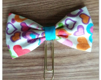 Colorful Hearts Planner clip, bookmark, planner bow clip, bow bookmark, scattered hearts design fabric bow, bowtie bow