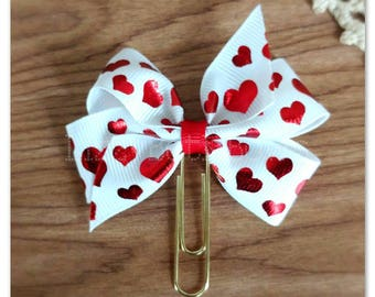 Red scattered hearts Planner clip, bookmark, planner bow clip, bow bookmark, metallic red, hearts, love, Valentine's day