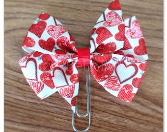 Scattered Hearts ribbon bow Planner clip, bookmark, planner bow clip, Valentine's Day, red white hearts