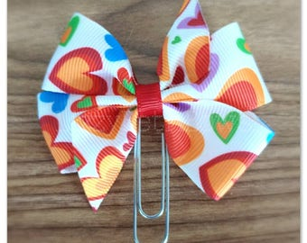 Scattered Hearts ribbon bow Planner clip, bookmark, planner bow clip, Valentine's Day, red white green purple blue orange