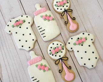 Kate Spade Inspired Baby Shower Favors, Baby Shower Cookie Favors, Kate Spade Design - 1 dozen