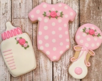 Pink Baby Shower Favors, Baby Cookie Favors - 1 dozen