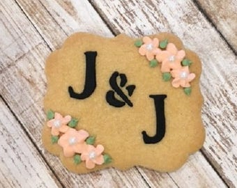 Rustic Wedding Favors, Monogrammed Favors, Personalized Bridal Shower Cookie Favors - 1 dozen