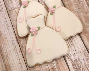 Bridal Shower Favors, Wedding Dress Cookie Favor, Bridesmaid Gifts - 1 dozen