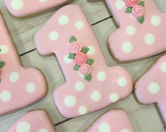 First Birthday Girl Party Favors Floral 1st Cookies For Girls