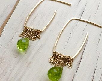 Peridot Earrings Peridot Teardrop Chain Hoop Gemstone Jewelry