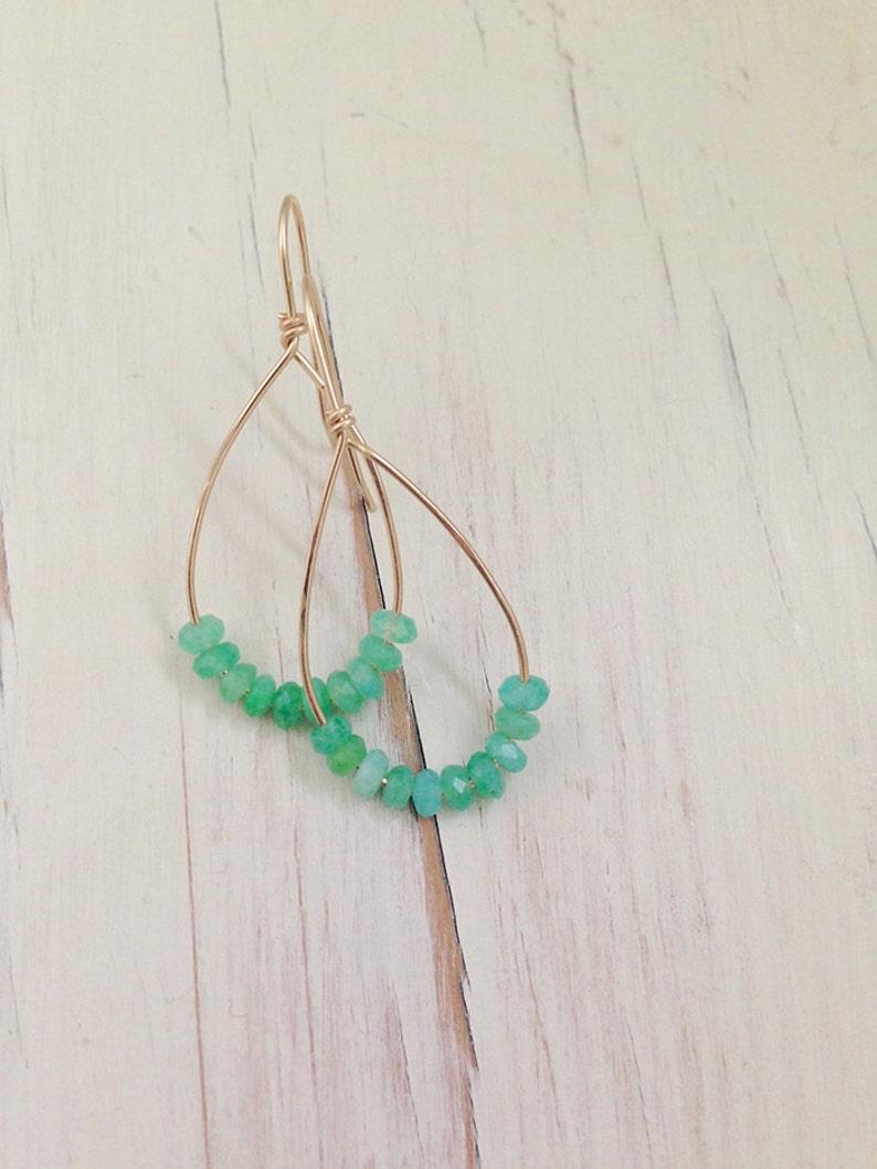 Chrysoprase Earrings Chrysoprase Jewelry Chrysoprase Hoop Earring Gemstone Jewelry Modern Earring