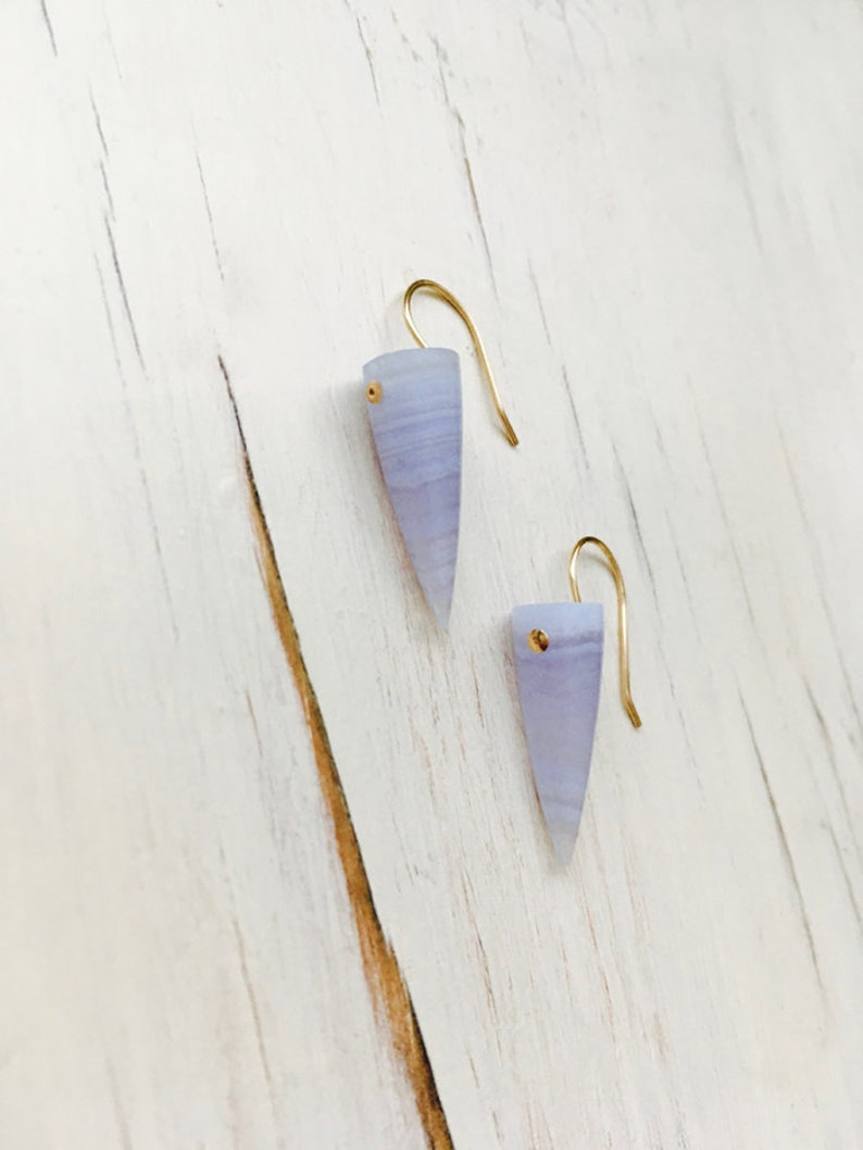 82f6b849b Blue Lace Agate Earring Blue Lace Agate Spike Earrings Blue   Etsy