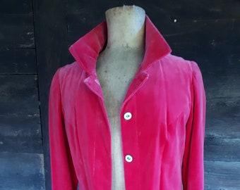 Pink Crushed Velvet Blazer Mantles Brand Vintage Clothing Dark Pink Velvet Jacket Ladies Size 14 Vintage Ladies Velvet Jacket