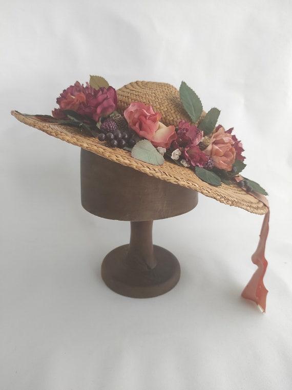 Vintage Straw Flower Hat | Floral Summer Hat | Su… - image 4