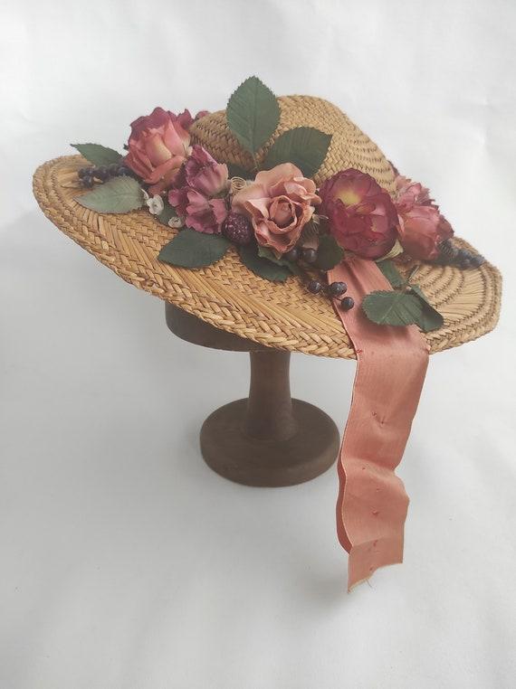 Vintage Straw Flower Hat | Floral Summer Hat | Su… - image 6