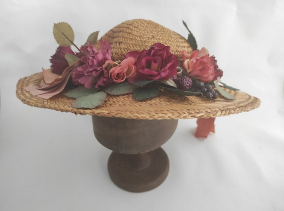 Vintage Straw Flower Hat | Floral Summer Hat | Su… - image 2