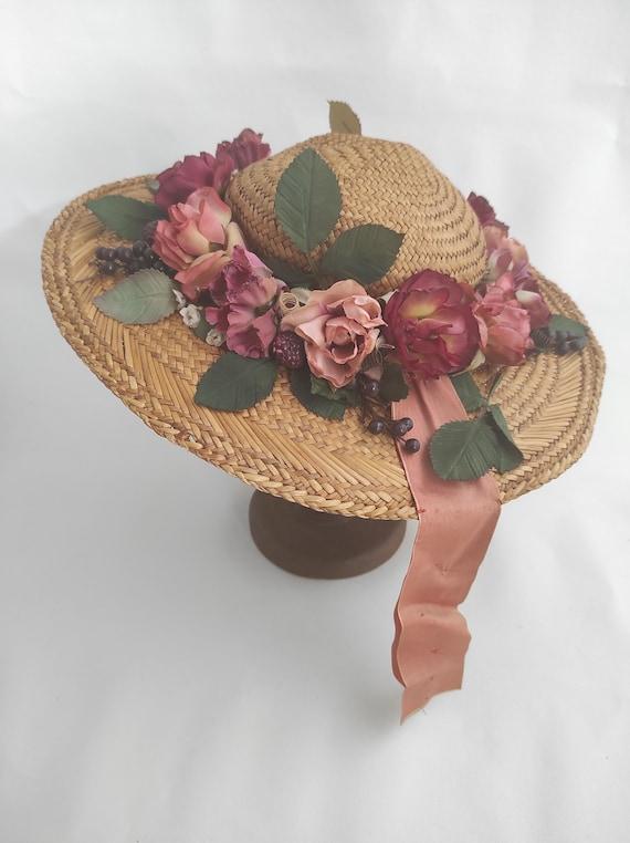 Vintage Straw Flower Hat | Floral Summer Hat | Su… - image 9