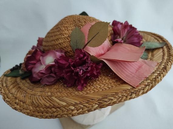 Vintage Straw Flower Hat | Floral Summer Hat | Su… - image 8