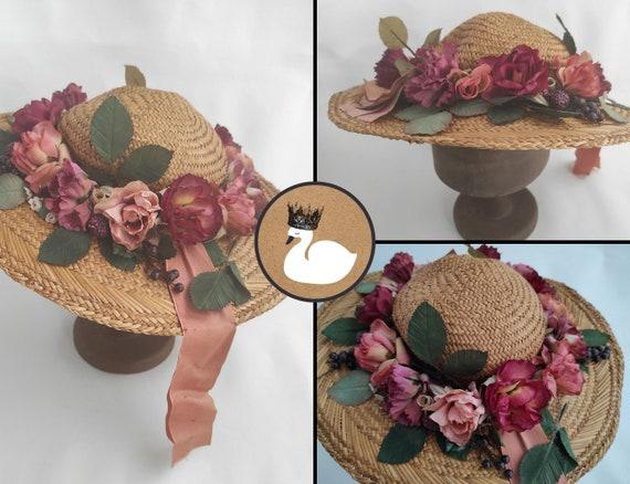 Vintage Straw Flower Hat | Floral Summer Hat | Su… - image 1