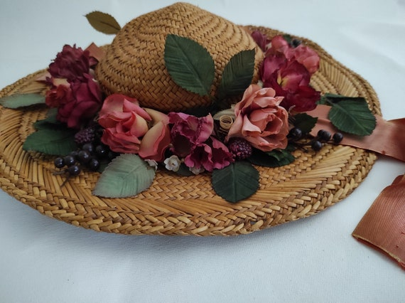 Vintage Straw Flower Hat | Floral Summer Hat | Su… - image 5
