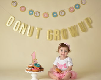 Donut Grow Up Party Decorations - Donut Party - Donut Banner - Donut Cake Topper - Donut First Birthday - Donut Decorations - Donut Garland