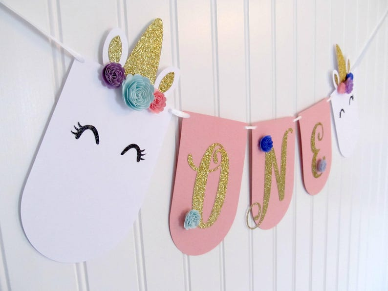Unicorn High Chair Banner First Birthday