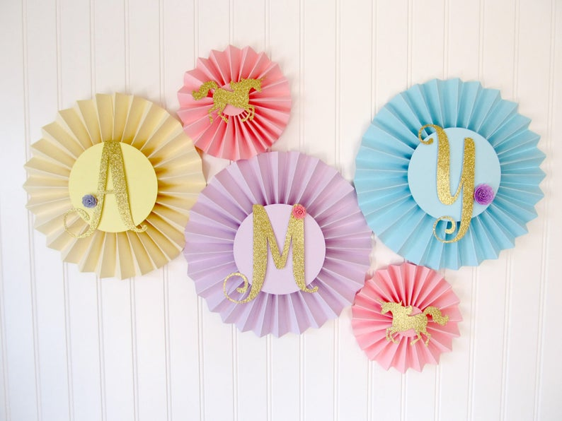 Unicorn Party Decorations Paper Rosettes Banner