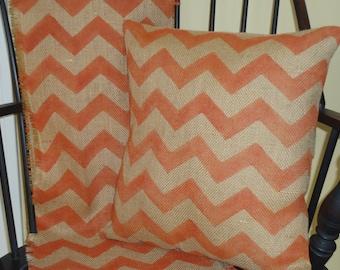 Burlap Zig Zag Pillow, Burlap Pillow Cover in Rustic Orange,Modern Chevron Table Runner by sweetjanesplan