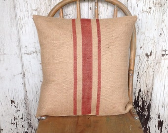 Industrial Rustic Red Striped Grain Sack Burlap Pillow Cover