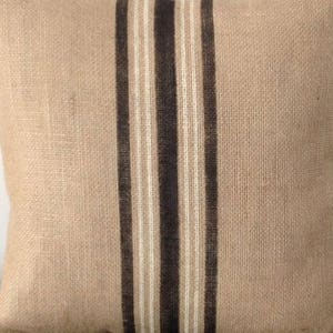 Industrial Decor Choice of Colors by sweetjanesplan Rustic Striped  Pillow Cover Burlap Vintage Sack Pillow in Dark Blue and White