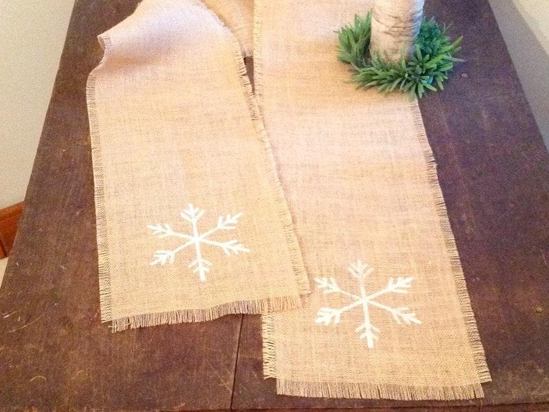 Burlap White Snowflake Table Runner 48, 60, 72 or 84